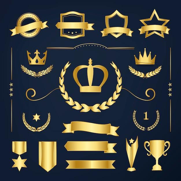 Odznaki odznaczeń najwyższej jakości i banery Darmowych Wektorów