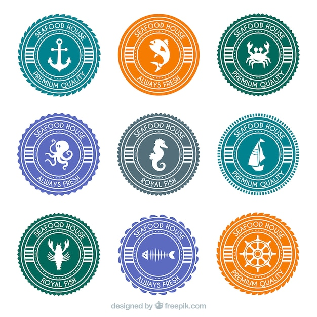 odznaki okr�g�e owoce morza wektor darmowe pobieranie