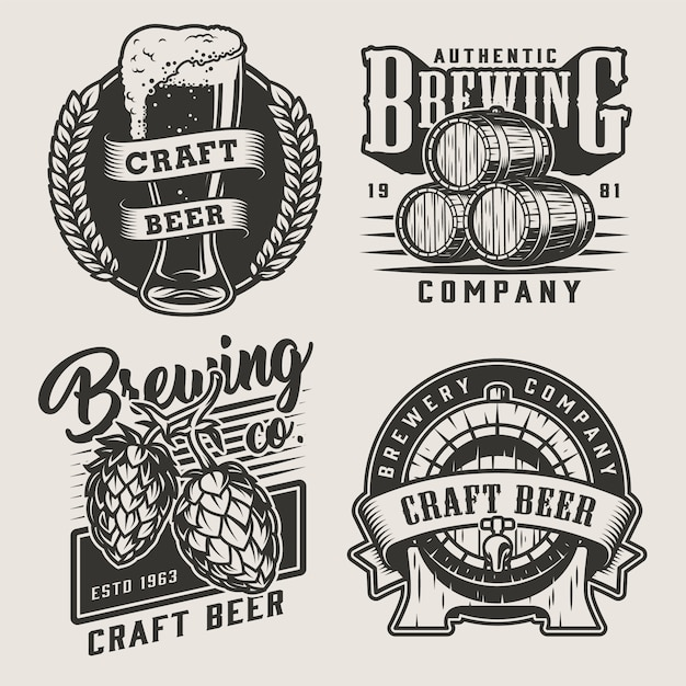 Odznaki Piwa Rocznika Monochromatyczne Rzemiosła Darmowych Wektorów