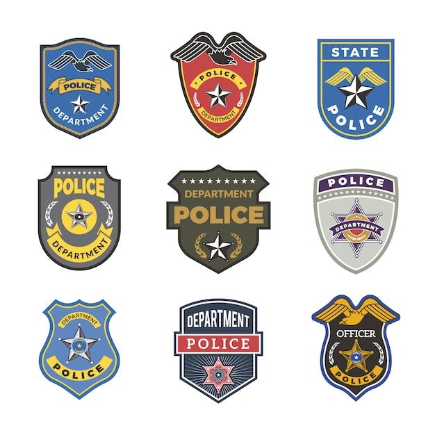 Odznaki policyjne. znaki i symbole bezpieczeństwa logotypy funkcjonariuszy departamentu rządowego Premium Wektorów