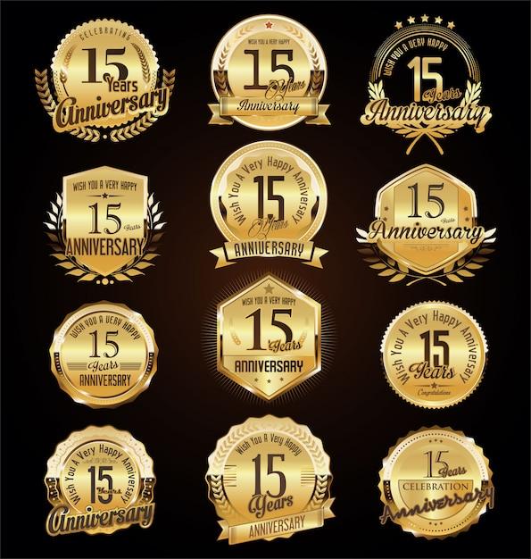 Odznaki Rocznicowe Premium Wektorów