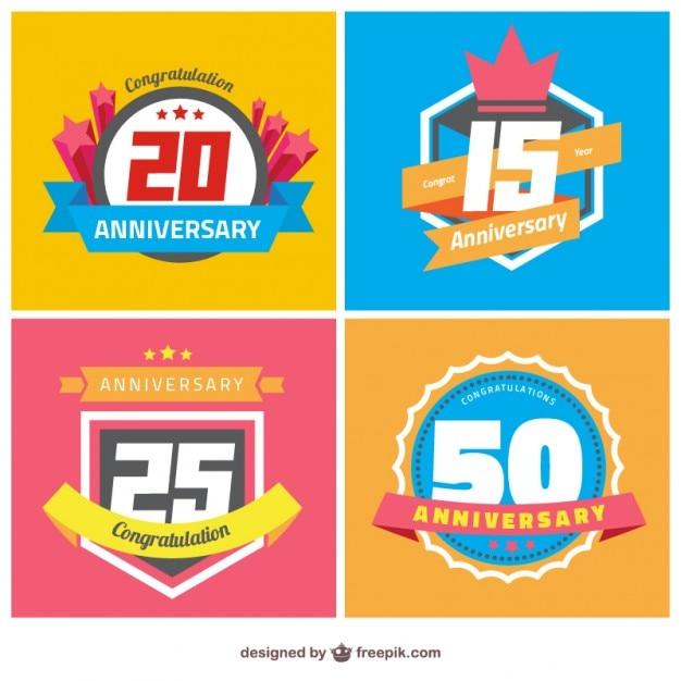 Odznaki rocznicowe Darmowych Wektorów