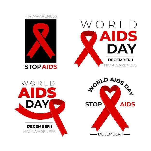 Odznaki światowego Dnia Pomocy Są Pakowane Z Czerwonymi Wstążkami Darmowych Wektorów