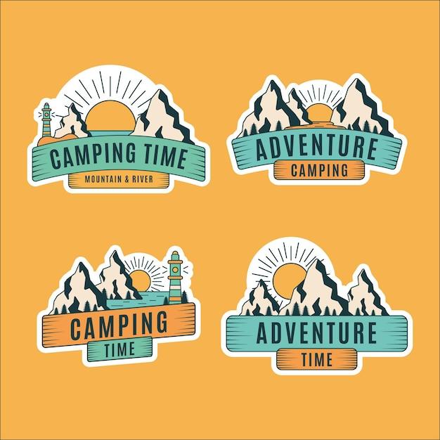 Odznaki Vintage Camping & Adventures Darmowych Wektorów