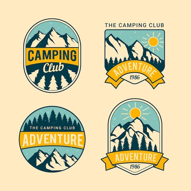 Odznaki Vintage Camping & Adventures Premium Wektorów