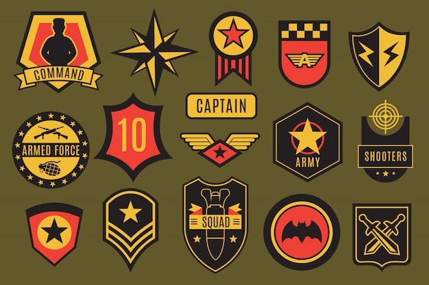 Odznaki Wojskowe. Naszywki Wojskowe Usa I Etykiety Powietrzne. Amerykański żołnierz Szewrony Z Typografii I Gwiazda Wektor Zestaw Premium Wektorów