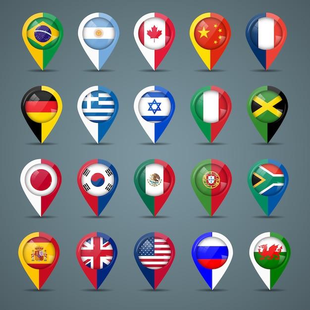 Odznaki Z Flagami Premium Wektorów
