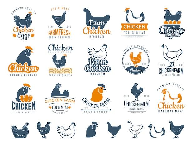 Odznaki Z Kurczaka Logotyp żywności świeże Gospodarstwo Gotowanie Jaj I Ptaków Brojlery Wektor Etykiety Premium Wektorów