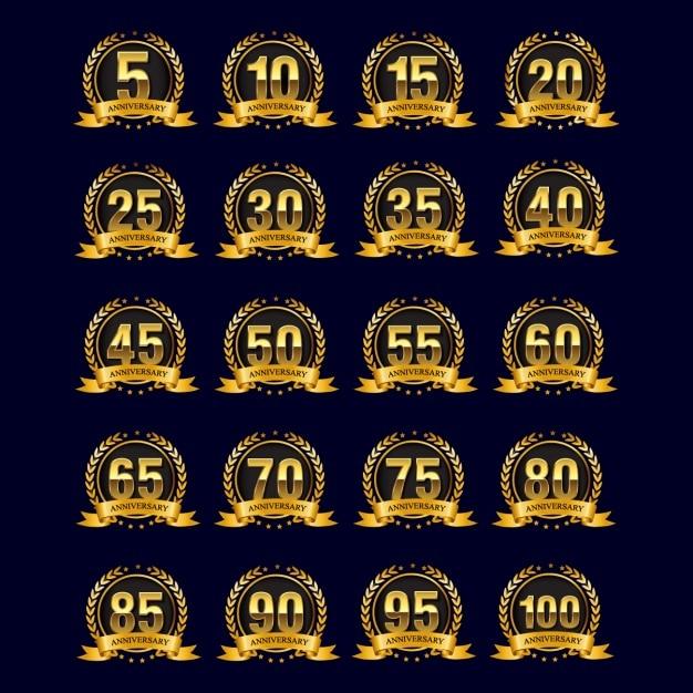 Odznaki Złote Gody Darmowych Wektorów
