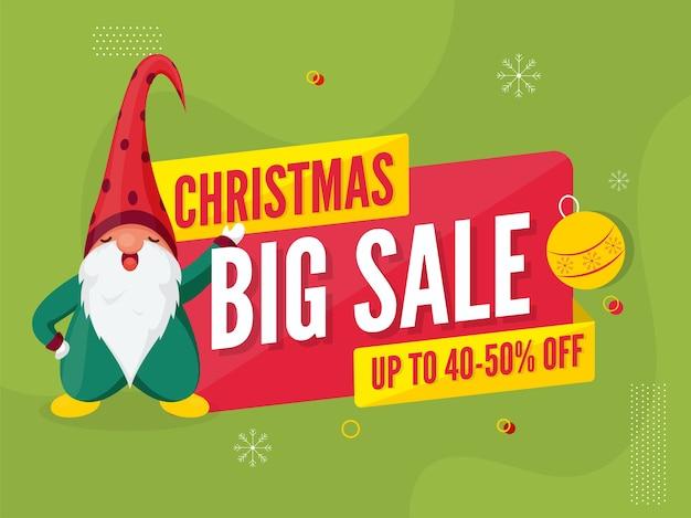 Oferta Rabatowa świąteczna Wielka Sprzedaż Plakat I Postać Z Kreskówki Krasnal Na Zielonym Tle. Premium Wektorów