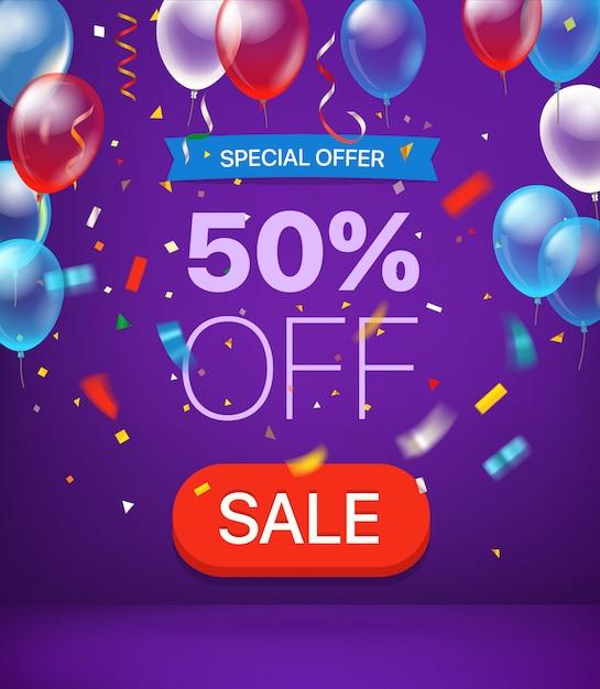 Oferta specjalna 50% zniżki na baner Premium Wektorów