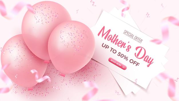 Oferta Specjalna Na Dzień Matki. 50 Procent Zniżki Na Projekt Transparentu Z Białymi Prześcieradłami, Różowymi Balonami, Opadającymi Konfetti Z Folii Na Różowym Tle. Szablon Dzień Matki. Premium Wektorów