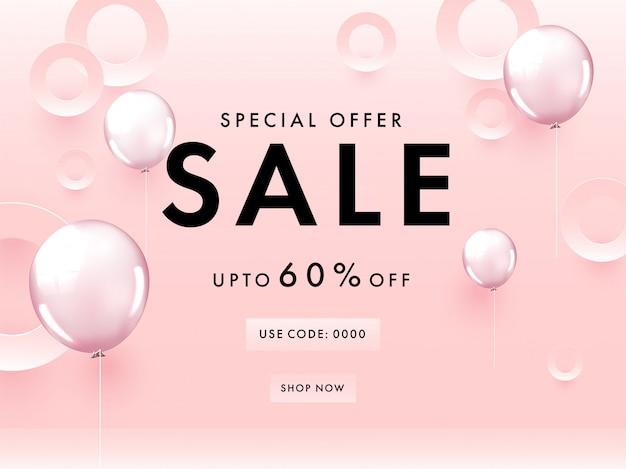 Oferta Specjalna Sprzedaż Plakatu Z 60% Rabatem, Wycinanymi Papierowymi Kółkami I Błyszczącymi Balonami Na Pastelowym Różowym Tle. Premium Wektorów