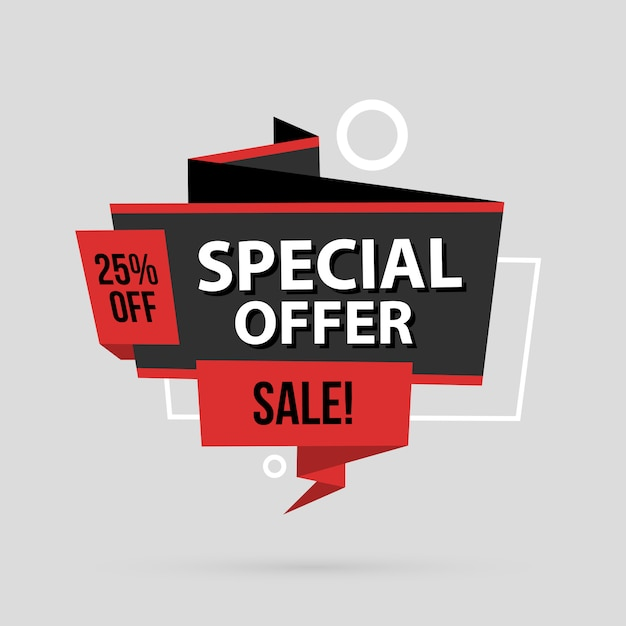 Oferta Specjalna Szablon Transparent W Stylu Płaskiej Origami Premium Wektorów