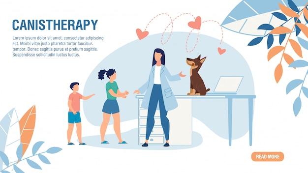 Oferta Strony Docelowej Dla Usługi Canistherapy Premium Wektorów