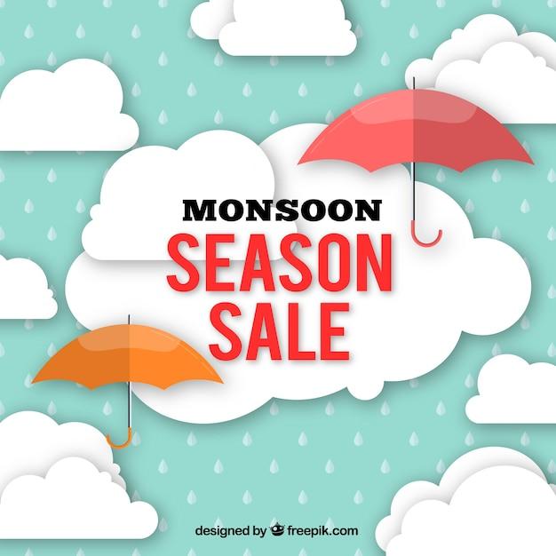 Oferty sprzedaży monsunu z parasolem i chmurami w płaskim stylu Darmowych Wektorów