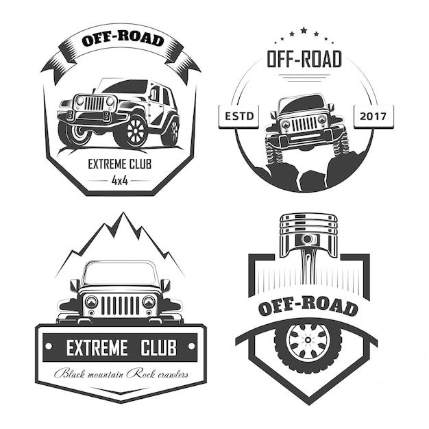 Off-road 4x4 ekstremalne szablony logo klubu samochodowego. symbole wektorowe Premium Wektorów