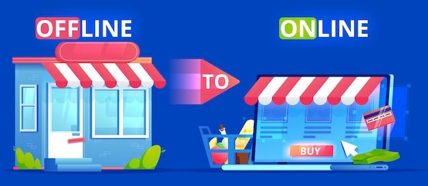 Offline Do Online. Baner Definicji Handlu. Sklep Na Stronie I Sklep W Prawdziwym życiu. Zaangażuj Użytkowników Seo. Płaska Ilustracja. Premium Wektorów