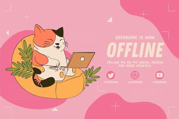 Offline Kotek Twitch Banner W Internecie Darmowych Wektorów