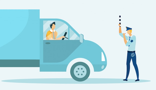 Oficer Policji Drogowej Zatrzymuje Samochód I Blokuje Drogę. Premium Wektorów