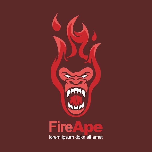 Ogień czerwony gorący małpa małpa zły maskotka logo Premium Wektorów