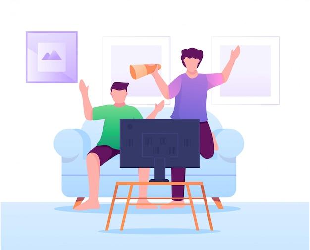 Oglądanie piłki nożnej w telewizji płaski ilustracja Premium Wektorów