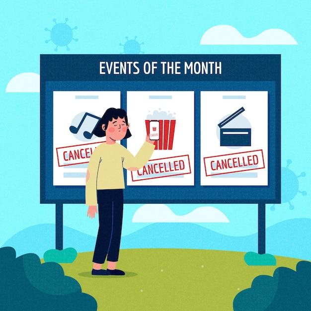 Ogłoszenie O Odwołanych Wydarzeniach Z Billboardem Darmowych Wektorów