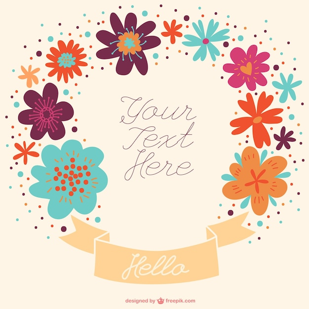 Ogłoszenie rysowane ręcznie kwiatu projektu banner Darmowych Wektorów
