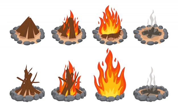 Ognisko Z Drewna. Ognisko Na Zewnątrz, Płonące Drewniane Bale I Kamienny Kominek. Płomienie Drewna Opałowego, Palić Ognisko Lub Kominek Premium Wektorów
