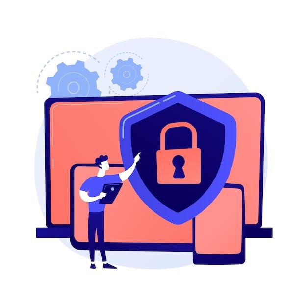 Ogólne Bezpieczeństwo Danych. Ochrona Danych Osobowych, Kontrola Dostępu Do Baz Danych, Cyberprywatność. Zsynchronizowane Gadżety, Regulacja Urządzeń Wieloplatformowych. Darmowych Wektorów