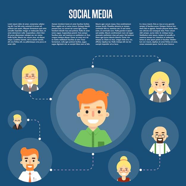 Ogólnospołeczna medialna ilustracja z związanymi ludźmi Premium Wektorów