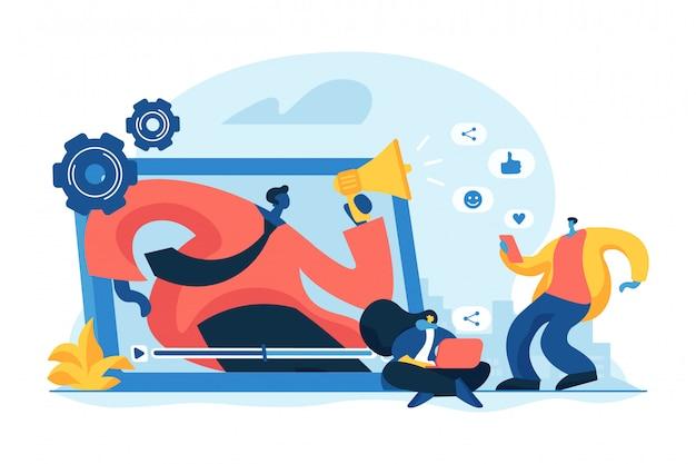 Ogólnospołeczna Sieci Promoci Pojęcia Wektoru Ilustracja Premium Wektorów