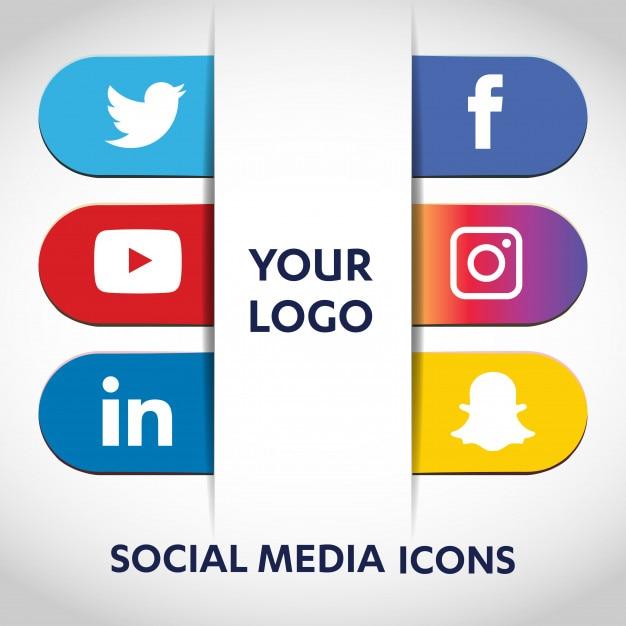 Ogólnospołeczne medialne ikony ustawiają sieci tło. uśmiechnięta twarz. udostępnij, polub, komentarz Premium Wektorów