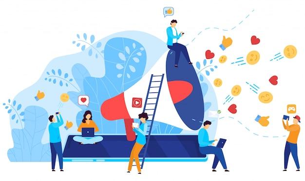 Ogólnospołeczny Medialny Marketingowy Pojęcie, Ludzie Reaguje Na Influencer Zawartość Online, Ilustracja Premium Wektorów