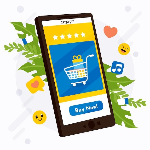 Ogólnospołeczny Medialny Marketingowy Telefonu Komórkowego Pojęcie Z Zakupy Darmowych Wektorów
