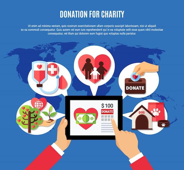 Ogólnoświatowa koncepcja aplikacji na darowizny Darmowych Wektorów