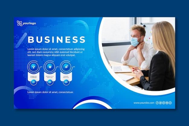 Ogólny Szablon Transparent Biznes Ze Zdjęciem Premium Wektorów