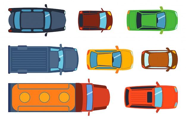 Ogólny Widok Z Góry Zestawu Zabawek Samochodowych Premium Wektorów