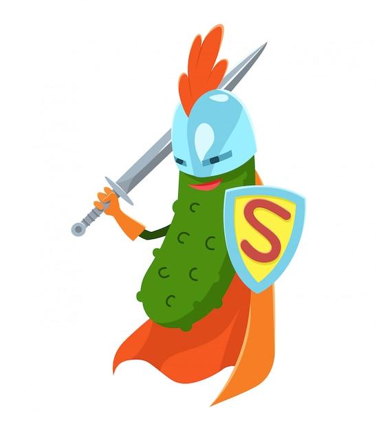 Ogórek superhero Premium Wektorów