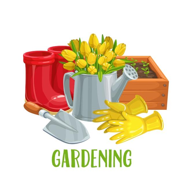 Ogrodnictwo Z Kwiatami Premium Wektorów