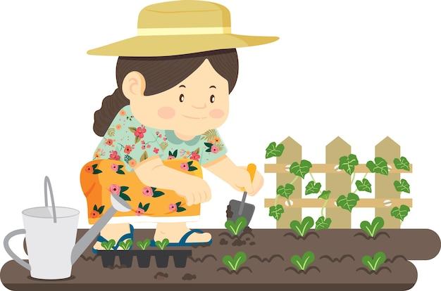Ogrodnicy Uprawiają Warzywa. Premium Wektorów
