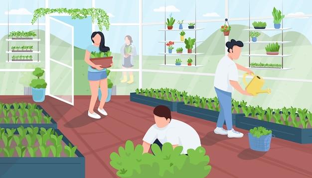 Ogrodnicy W Ilustracji Płaski Kolor Szklarni Premium Wektorów