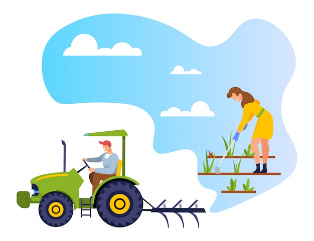 Ogrodnik Weeding Garden Bed Worker Driving Tractor Premium Wektorów