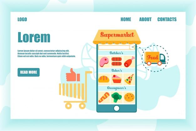 Ogromny smartfon z produktem supermarket na ekranie Premium Wektorów