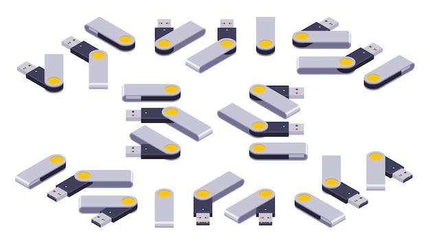 Ogromny zestaw izometrycznych napędów flash usb Premium Wektorów