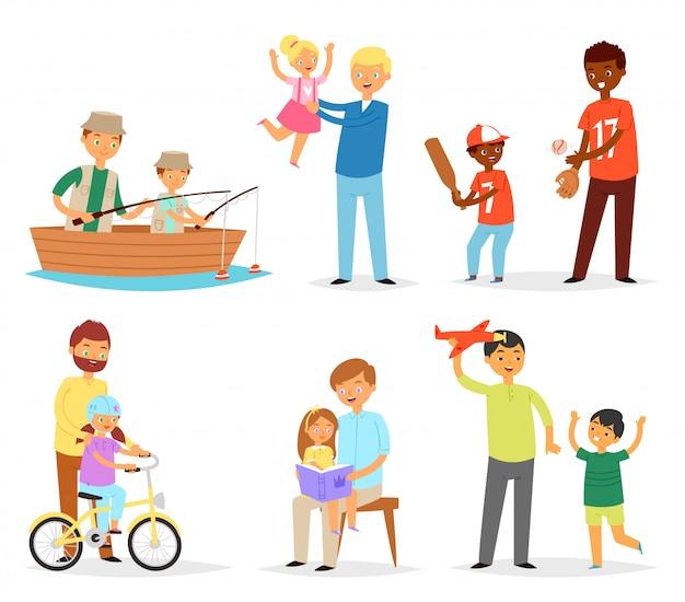 Ojciec I Dziecko Tata I Dzieci Córka Syn Gra Razem Połowów Ilustracji Dzień Ojca Ustawić Szczęśliwy Tata Z Dziećmi Na Białym Tle Premium Wektorów