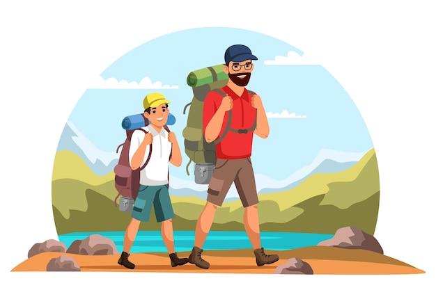 Ojciec I Syn Z Plecakami Jeżdżą W Góry, Rodzinne Wyjazdy, Aktywny Wypoczynek, Piesze Wycieczki Premium Wektorów