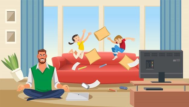 Ojciec w stanie stresu z bawiącymi się dziećmi Premium Wektorów