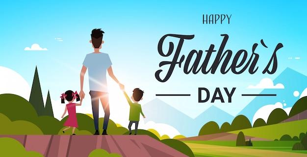 Ojciec Z Dziećmi Chodzić Po Wsi Premium Wektorów