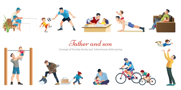Ojcostwo wychowania dzieci gry chodzenie połowów z dziećmi kreskówki retro ikony banery ustawione na białym tle Premium Wektorów